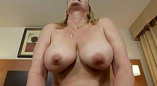 MILF POV granny sucks cock