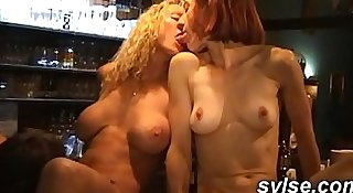 Anal gangbang for 3 MILFs maids in the pub